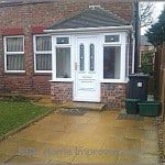 PVCu entrance porch in white